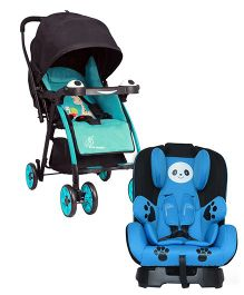 R for Rabbit Poppins An Ideal Pram For Moms - Blue & Black AND R for Rabbit Jolly Panda The Convertible Car Seat - Sky Blue