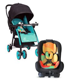 R for Rabbit Poppins An Ideal Pram For Moms - Blue & Black AND R for Rabbit Jack N Jill The Convertible Car Seat - Multicolor