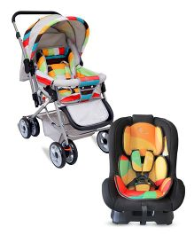 R for Rabbit The Colorful Pram Lollipop - Grey & Multicolor AND R for Rabbit Jack N Jill The Convertible Car Seat - Multicolor
