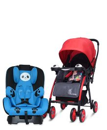 R for Rabbit Poppins An Ideal Pram for Moms - Red & Black AND R for Rabbit Jolly Panda The Convertible Car Seat - Sky Blue