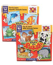 Toys Box Tickle With Puzzle Fun & Learn Wild Animal Series - Multicolor and Toys Box Tickle With Puzzle Fun & Learn Aquatic Animal Series - Multicolor