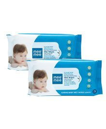 Mee Mee Caring Baby Wet Wipes With Lemon Fragrance - 72 Pieces Pack of 2