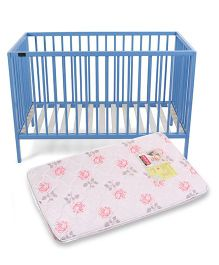 Babyhug Visby Wooden Cot - Blue And Babyhug Baby Mattress Floral Design -Color And Design May Vary