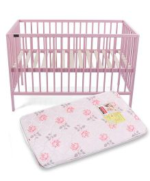 Babyhug Visby Wooden Cot - Pink And Babyhug Baby Mattress Floral Design -Color And Design May Vary