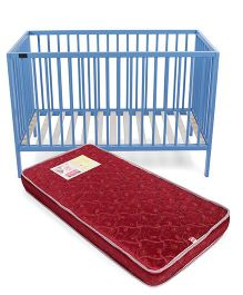 Babyhug Visby Wooden Cot - Blue And Babyhug Baby Mattress Floral And Leaf Design - Maroon