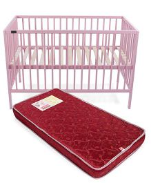 Babyhug Visby Wooden Cot - Pink And Babyhug Baby Mattress Floral And Leaf Design - Maroon