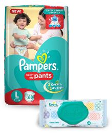 Pampers Pant Style Diapers Large - 68 Pieces & Pampers Fresh Clean Baby Wipes - 64 Pieces