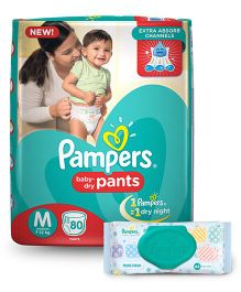 Pampers Pant Style Diapers Medium - 80 Pieces & Pampers Fresh Clean Baby Wipes - 64 Pieces