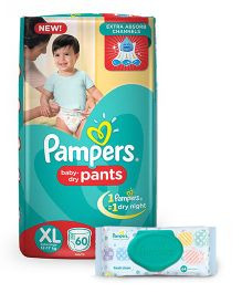 Pampers Pant Style Diapers Extra Large - 60 Pieces & Pampers Fresh Clean Baby Wipes - 64 Pieces