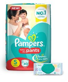 Pampers Pant Style Diapers Small - 60 Pieces & Pampers Fresh Clean Baby Wipes - 64 Pieces