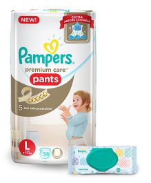 Pampers Premium Care Pant Style Diapers Large - 58 Pieces & Pampers Fresh Clean Baby Wipes - 64 Pieces