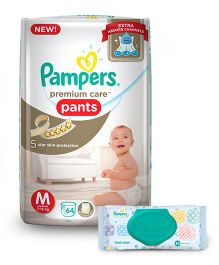 Pampers Premium Care Pant Style Diapers Medium - 64 Pieces & Pampers Fresh Clean Baby Wipes - 64 Pieces