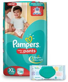 Pampers Pant Style Diapers Extra Large - 58 Pieces & Pampers Fresh Clean Baby Wipes - 64 Pieces