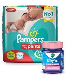 Pampers Pant Style Diapers New Born - 86 Pieces & Vicks BabyRub Soothing Vapor Ointment For Babies - 50 ml
