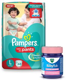 Pampers Pant Style Diapers Large - 68 Pieces & Vicks BabyRub Soothing Vapor Ointment For Babies - 50 ml