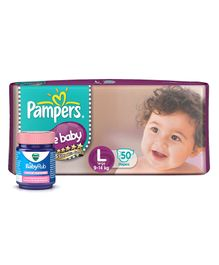 Pampers Active Baby Diapers Large - 50 Pieces & Vicks BabyRub Soothing Vapor Ointment For Babies - 50 ml