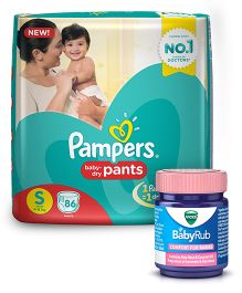 Pampers Pant Style Diapers Small - 86 Pieces & Vicks BabyRub Soothing Vapor Ointment For Babies - 50 ml