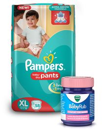 Pampers Pant Style Diapers Extra Large - 58 Pieces & Vicks BabyRub Soothing Vapor Ointment For Babies - 50 ml