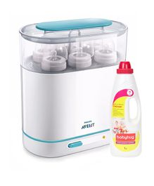 Avent 3-in-1 Electric Steam Sterilizer and Babyhug Feeding Bottle Accessories & Vegetables Liquid Cleanser - 1000 ml