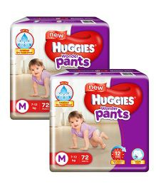 Huggies Wonder Pants Medium Size Pant Style Diapers - 72 Pieces - Pack of 2