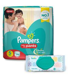 Pampers Pant Style Diapers Small - 86 Pieces & Pampers Fresh Clean Baby Wipes - 64 Pieces