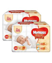 Huggies Ultra Soft Extra Small Pant Style Diaper -20 Pieces Pack Of 2
