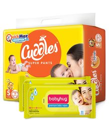 Cuddles Pant Style Diapers Small - 78 Pieces & 2 Packs Babyhug Premium Baby Wipes - 80 Pieces
