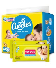 Cuddles Pant Style Diapers Medium - 74 Pieces & 2 Packs Babyhug Premium Baby Wipes - 80 Pieces