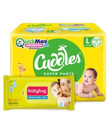 Cuddles Pant Style Diapers Large - 20 Pieces & Babyhug Premium Baby Wipes - 80 Pieces
