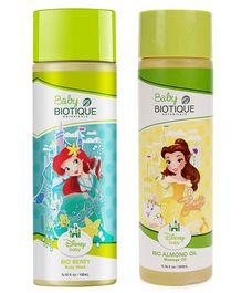 Baby Biotique Bio Berry Body Wash 190 ml AND Bio Almond Massage Oil 200ml