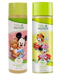 Baby Biotique Bio Berry Body Wash 190 ml AND Bio Almond Massage Oil 200 ml