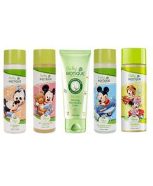 Biotique Bio Milk Nurturing Baby Moisture Cream - 50 gm & Disney Mickey & Minnie Bio Berry Body Wash - 190 ml & Mickey Mouse Bio Almond Massage Oil - 200 ml