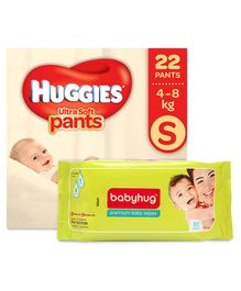 Huggies Ultra Soft Small Size Diaper Pants - 22 Pieces & Babyhug Premium Baby Wipes - 80 Pieces