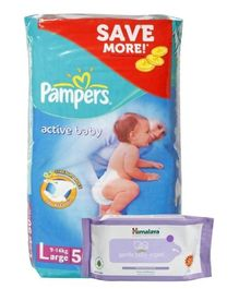 Pampers Active Baby L 50 Pieces and Himalaya - Gentle Baby Wipes 24 Pieces (Set of 2)