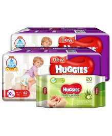 Huggies Wonder Pants Extra Large Pant Style Diapers - 42 Pieces (Pack of 2) & Huggies Nourishing Clean Baby Wipes with Cucmber & Aloe Vera - 20 Pieces