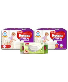 Huggies Wonder Pants Extra Large Pant Style Diapers - 54 Pieces (Pack of 2) & Huggies Nourishing Clean Baby Wipes with Cucmber & Aloe Vera - 72 Pieces