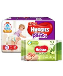 Huggies Wonder Pants Extra Large Pant Style Diapers - 54 Pieces & Huggies Nourishing Clean Baby Wipes with Cucmber & Aloe Vera - 10 Pieces