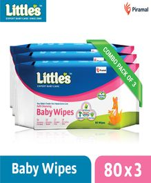 Little's Soft Cleansing Baby Wipes - 80 Pieces - Pack of 3
