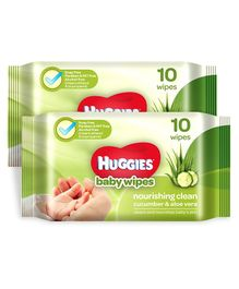 Huggies Nourishing Clean Baby Wipes with Cucmber & Aloe Vera - 10 Pieces ( Pack of 2 )