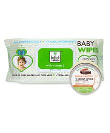 Combo Pack Palmers Cocoa Butter Formula Tummy Butter & Bebe Nature Biodegradable Wet Baby Wipes