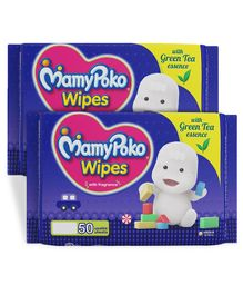 MamyPoko Wipes With Green Tea Essence - 50 Sheets (Pack of 2)