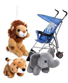 Baby Stroller with Soft Toys Combo (Set of 4)