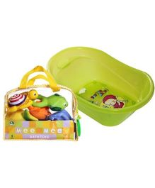 Baby Bather with Mee Mee Bath Toys Combo (Set of 2)