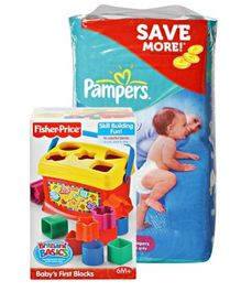 Pampers Active Baby (Imported) L 50 Pieces with Fisher-Price - Brilliant Basics - Baby's First Blocks Combo (Set of 2)