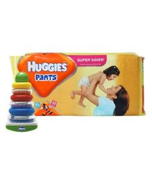 Huggies - Pants XL, Above 12 Kg, 32 Pants with Chicco - Super Rocking Rings Combo (Set of 2)