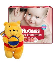 Huggies Total Protection M (5 - 11 Kg), 58 Pieces with Pooh Plush Toy Combo (Set of 2)