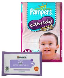 Pampers - Active Baby Diapers M 62 Pieces and Himalaya - Gentle Baby Wipes 72 Pieces (Set of 2)