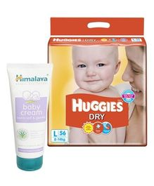 Huggies - Dry L (8 - 14 Kg), 56 Pieces with Himalaya - Baby Cream Combo (Set of 2)