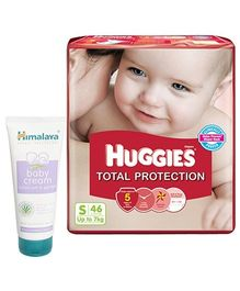 Huggies Total Protection S (Upto 7 Kg), 46 Pieces with Himalaya - Baby Cream Combo (Set of 2)