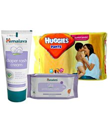 Huggies Pants M (5-11kg), 44 Pants with Himalaya - Gentle Baby Wipes and Diaper Rash Cream (Set of 3)
